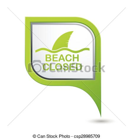 Vector Clipart of Beach Closed, shark sighting sign on green map.