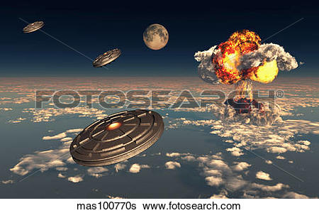 Stock Illustration of UFO sightings increased since the exploding.