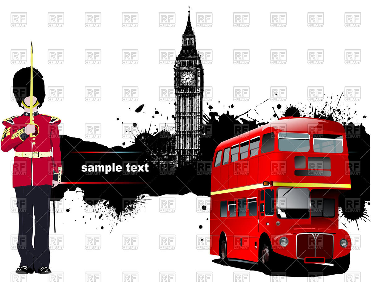 Double decker bus, beefeater and Big Ben.