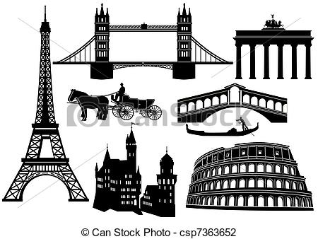 Vector Illustration of Main cities and sights in Europe csp7363652.