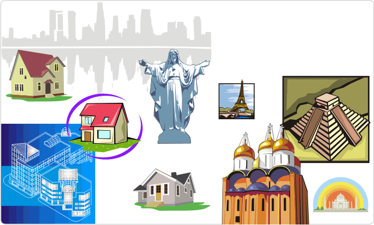 Architecture clipart: sights and buildings.