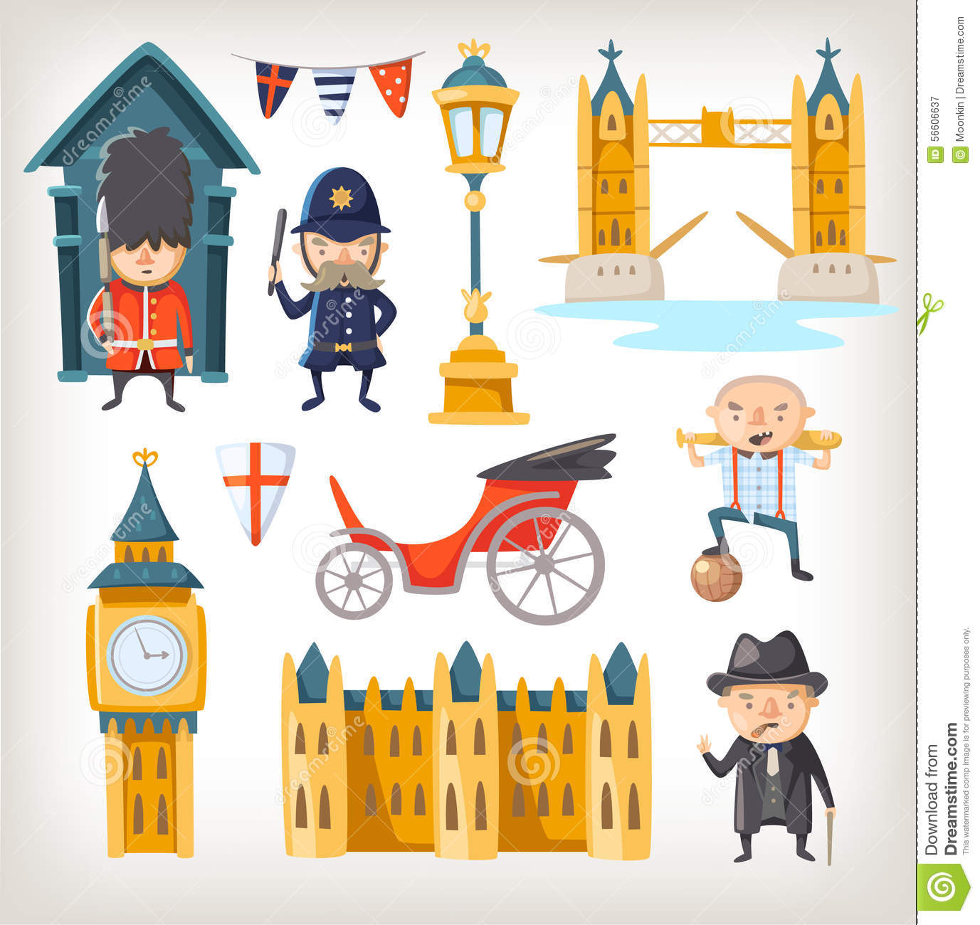 London Sights And People Stock Vector.