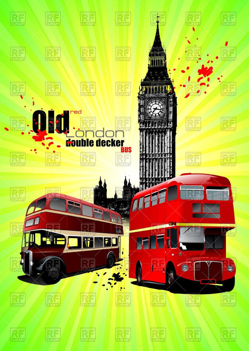 Double decker buses and Big Ben.