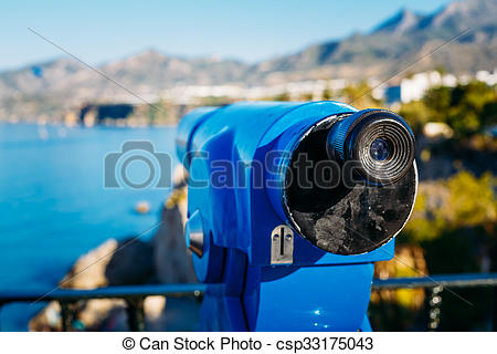 Stock Photo of Coin Operated Telescope For Sightseeing.