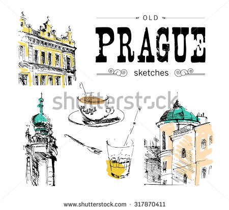 Vector hand drawn illustration of old Prague sights. European.