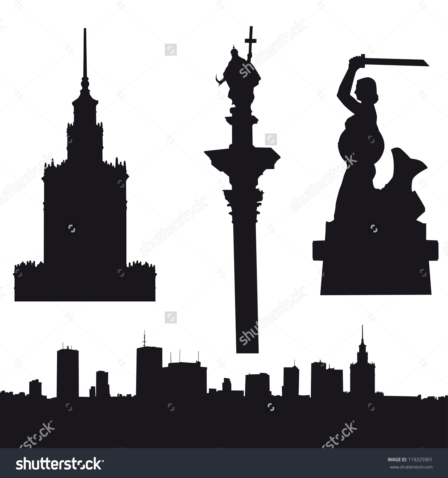 Silhouette Warsaw Poland Panorama Palace Culture Stock Vector.