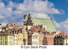 Stock Images of Sights of Poland. Warsaw Castle Square with king.