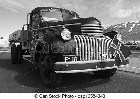 Stock Photo of Old Chevrolet truck. Iceland. Siglufjordur..