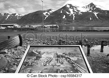 Stock Photography of Iceland. Siglufjordur. Old photo of herring.