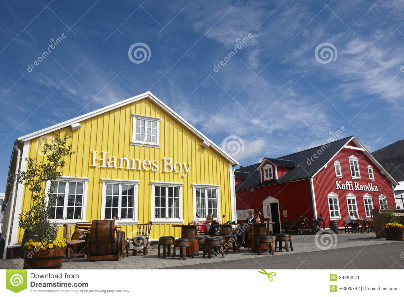 Restaurants In The Harbor. Iceland. Siglufjordur. Editorial Photo.