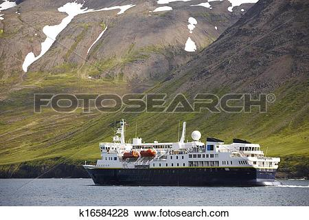 Pictures of Passengers ferry on Siglufjordur fjord. Iceland.