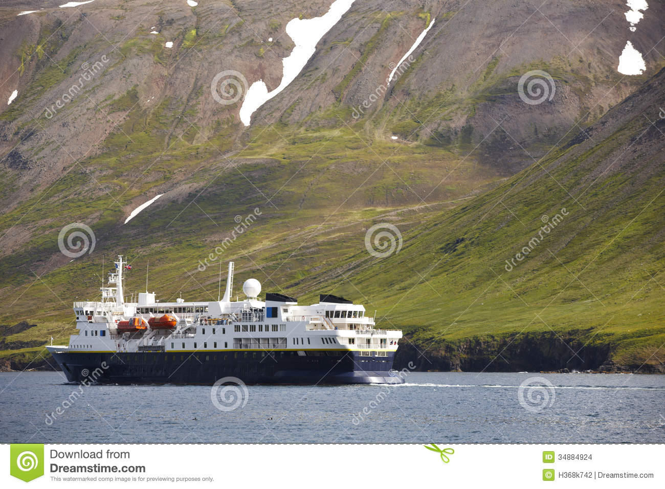 Passengers Ferry On Siglufjordur Fjord. Iceland. Stock Images.
