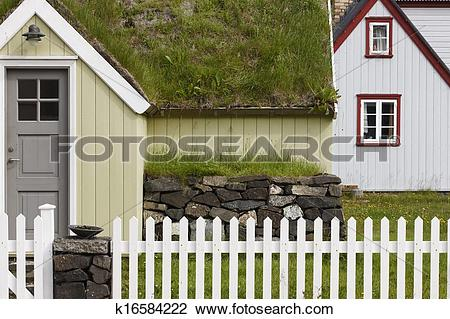 Stock Photo of Icelandic turf house in North Iceland. Siglufjordur.