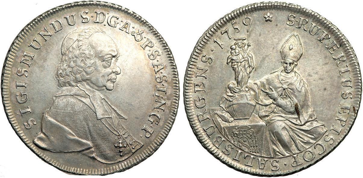 1 Thaler 1759 Salzburg Silver Sigismund von Schrattenbach.