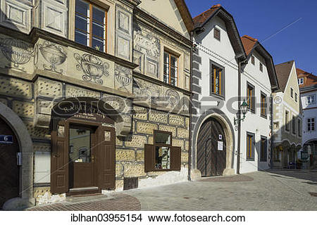 """Stock Photo of """"Historic row of houses with sgraffito, Modling."""