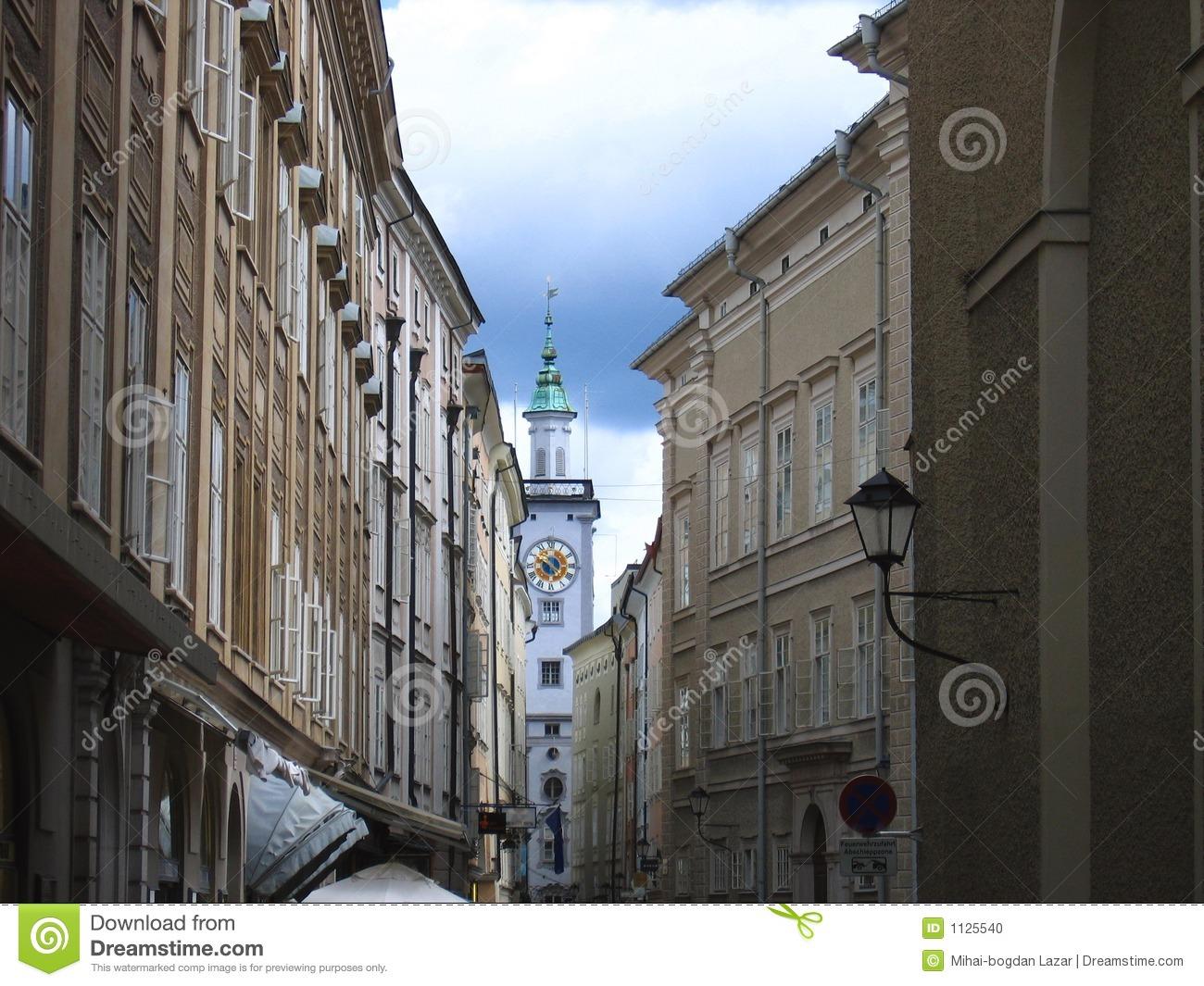 Sigmund Haffner Grasse (street) In Salzburg, Austria Stock Photo.