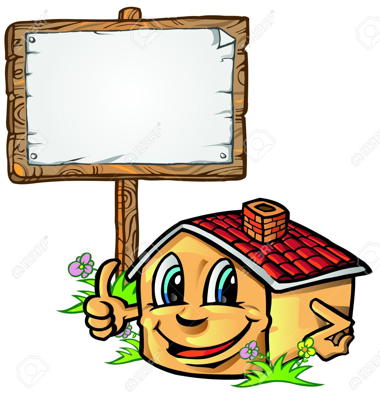 House Cartoon With Signboard Royalty Free Cliparts, Vectors, And.