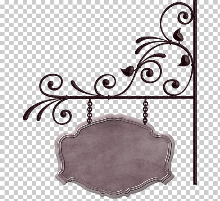 Banner Sign, Iron pattern frame tag, gray and black metal.