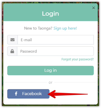 Logging into your Facebook game on Taonga Website.