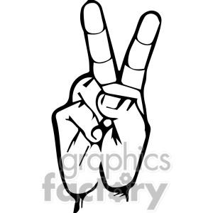 Sign Language Clipart Letter V.