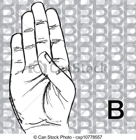 Clipart Vector of Hand Gestures, Letter B.