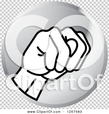 Clipart of a Silver Icon of a Sign Language Hand Gesturing Letter.
