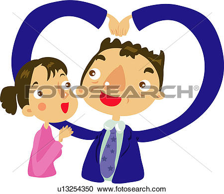 Clipart of mother, amrs, father, love, heart sign, making heart.