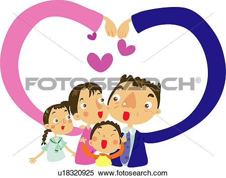 Clipart of father, amrs, extended arms, love, heart sign, making.