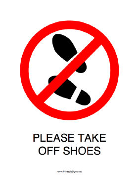Take off your shoes clipart.