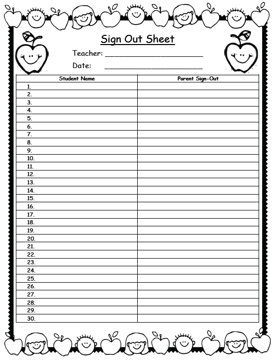 sign out sheet for classroom