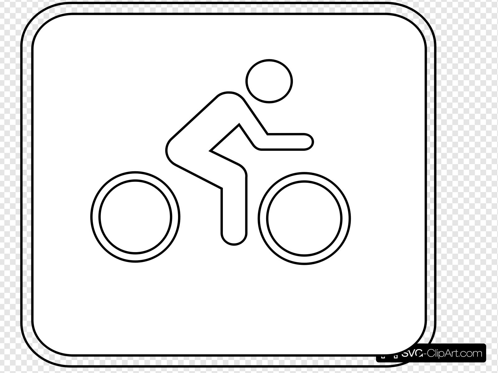Biking Sign Outline Clip art, Icon and SVG.
