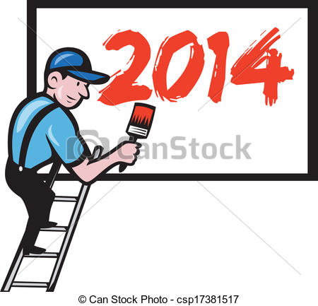 Vector Clip Art of New Year 2014 Painter Painting Billboard.