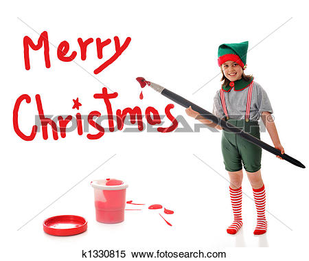 Stock Image of Christmas Elf Sign Painter k1330815.
