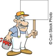 Vector of Painter Man Holding A Pail.