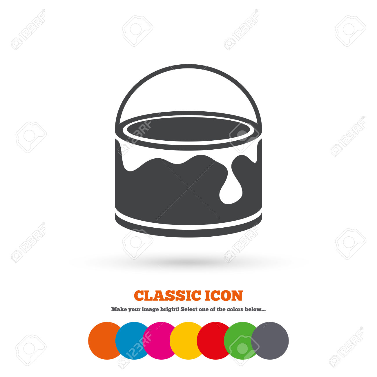 Bucket Of Paint Icon. Painting Works Sign. Painter Equipment.