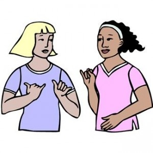 Showing post & media for Sign language clip art cartoon.