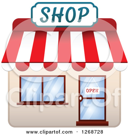 Clipart of a Pizzeria and Shop with Open Signs in the Doors 2.