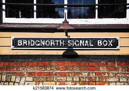 Stock Photo of Bridgnorth signal box sign. k21583874.