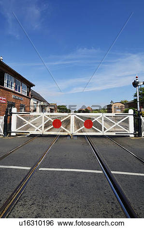 Stock Images of England, Somerset, Blue Anchor. The level crossing.