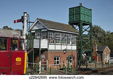 Stock Image of England, Essex, Castle Hedingham. A signal box on.