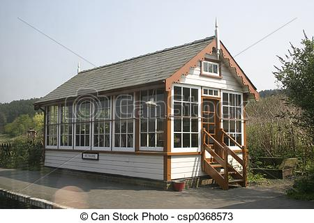 Stock Photos of railway signal box on a railway museum platform.