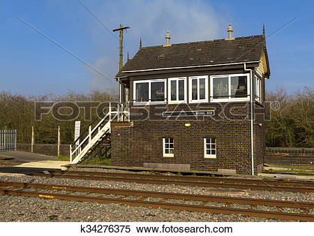 Stock Image of English Railway Signal Box k34276375.
