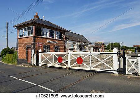 Pictures of England, Somerset, Blue Anchor. The level crossing and.