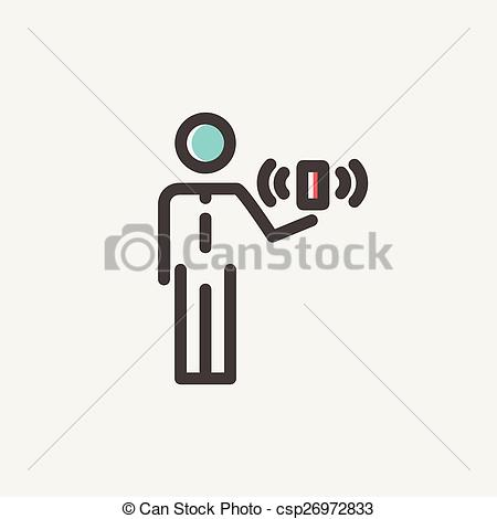 Vectors of Man and wireless signal thin line icon.