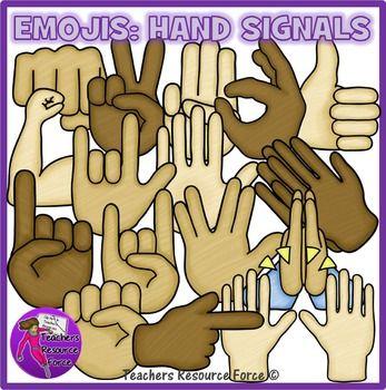 Emoticon clip art: hand signals, crayon effect clipart.