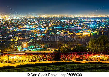 Stock Photography of Night view from Hilltop Park, in Signal Hill.
