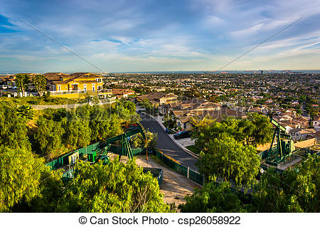Stock Photo of View from Hilltop Park, in Signal Hill, Long Beach.