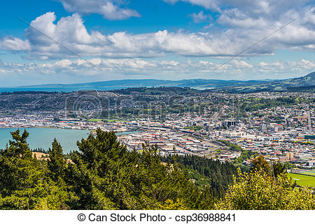 Stock Photo of Dunedin seen from the peak of Signal Hill, New.