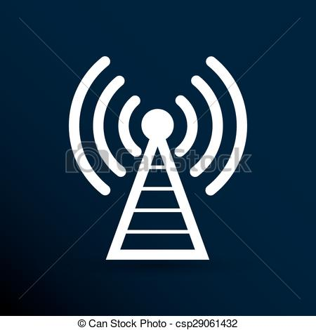 Vector of Antenna icon tower radio mast signal antenna vector.