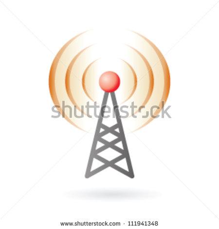 Illustration Of Radio Antenna Mast With Signals On Air.